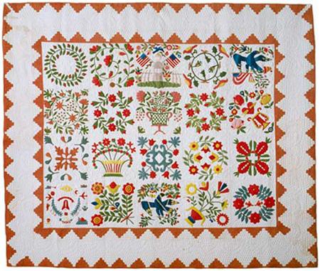Baltimore album quilt uit 1850 - Shelbume Museum