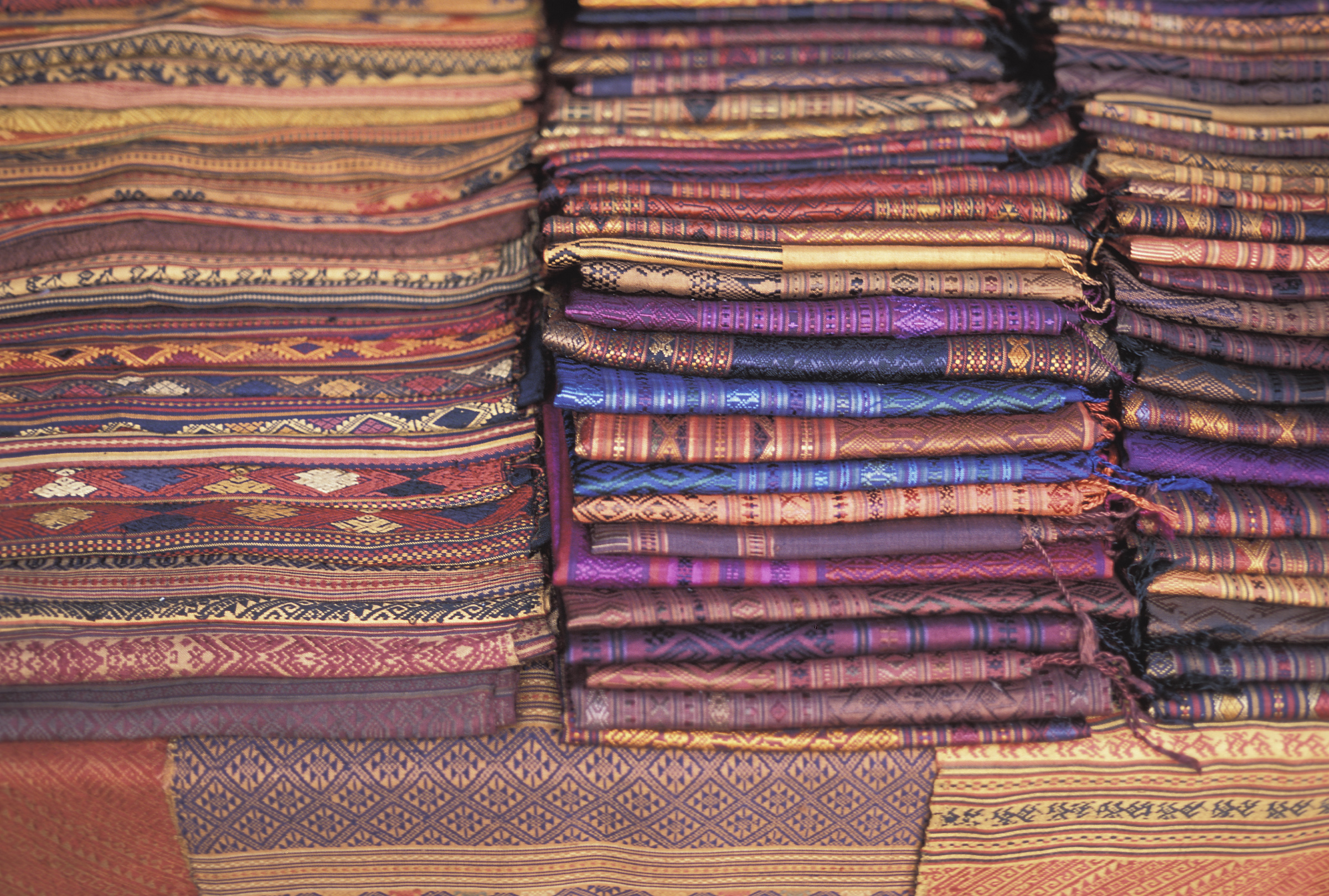 Laotiaanse geweven sarongs