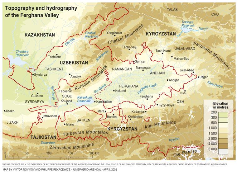 Kaart van de Ferghana-vallei in Oezbekistan en Tadjikistan