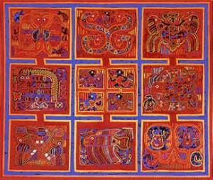 Quilt gemaakt van negen mola's - mola's Kuna - Handwerkwereld