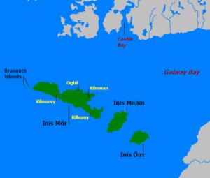 De Aran eilanden in de baai van Galway