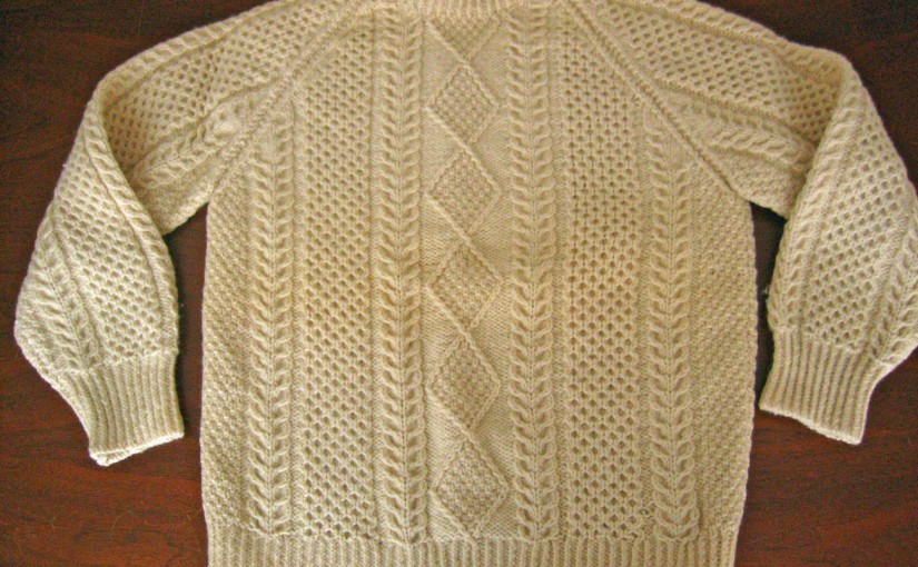 Aran fisherman sweater in bainin wol