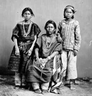Navajo-vrouw met kinderen