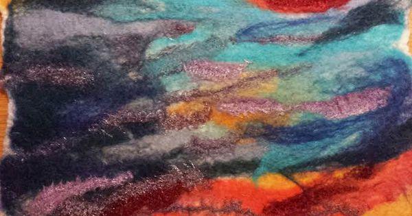 Quiltdagen - Fire & Rain, gepuncht, natgevilt - Marian Verdonk
