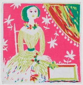 Textielmuseum - Zakdoek, vrouw aan tafel door Boris van Wijk - katoen zeefdruk - foto Josefina Eikenaar