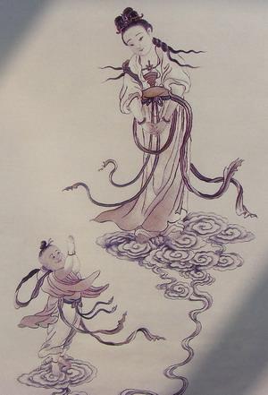 Afbeelding van Kuanyin in Chinees haarborduurwerk