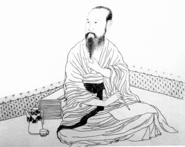 Chinese historische figuur in zuiver Moxiu borduurwerk.
