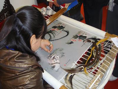 Haarborduurwerk uit Dongtai, Jiangsu Provincie.