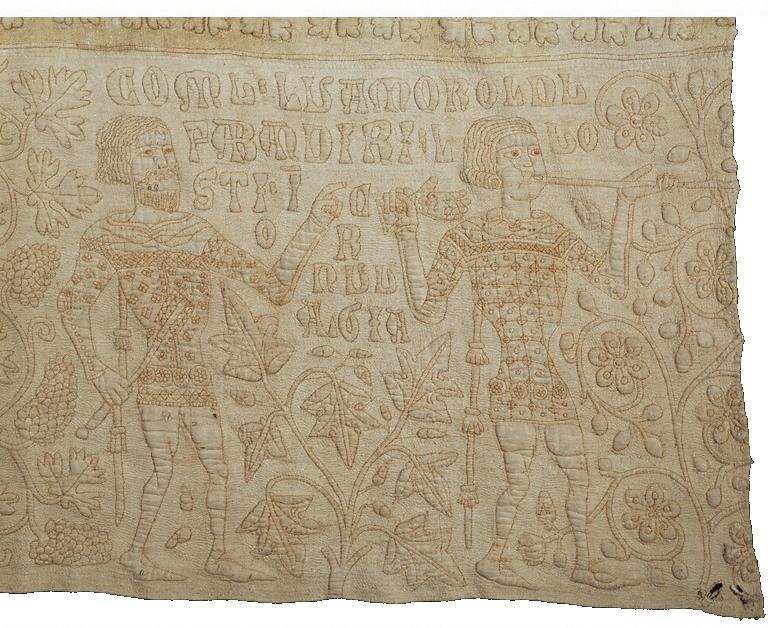 De Tristan Quilt in trapunto, detail, Victoria & Albert Museum, circa 1360 - 1400.