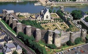 Luchtfoto van het Château d'Angers.