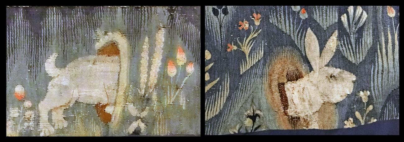 Twee detailopnamen van het tapijt, een haas dat in en uit zijn hol kruipt - foto Jean-Pierre Dalbéra.