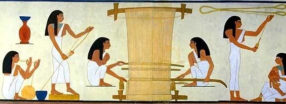 De verschillende stadia van de productie van linnen in het oude Egypte.