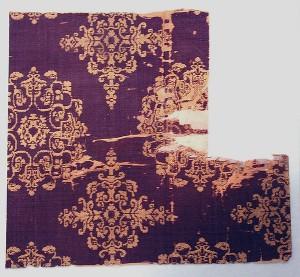 Stof met florale medaillons, geweven, 8ste eeuw.
