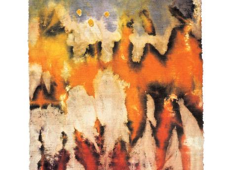 Marian Clayden, Dip Dye, 1970, ruwe katoen, gevouwen en met afdektechniek geverfd.