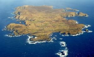 Luchtfoto van Fair Isle.