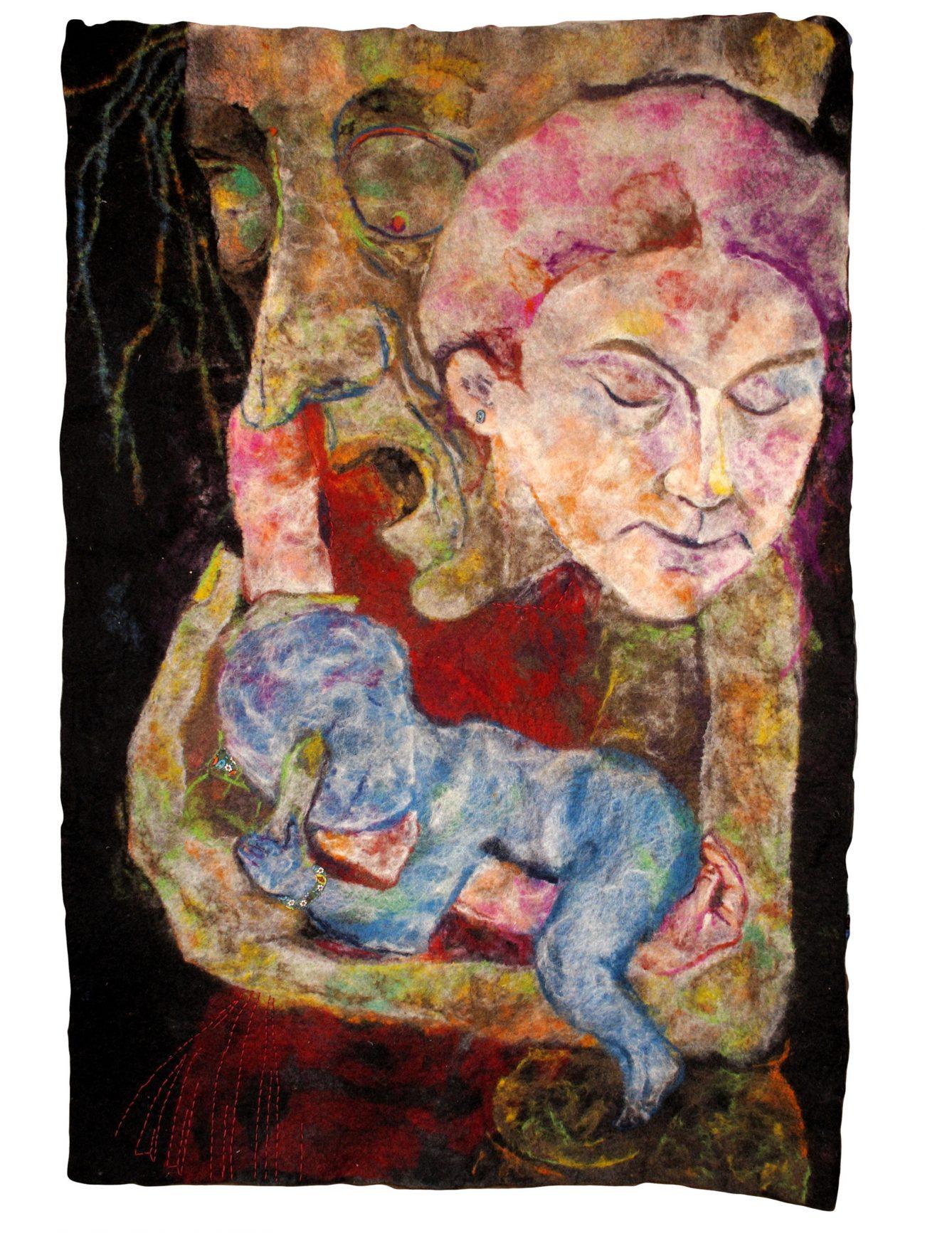 Barbara Füreder, Baba Yaga Trinität, 2010, gevilte wol.