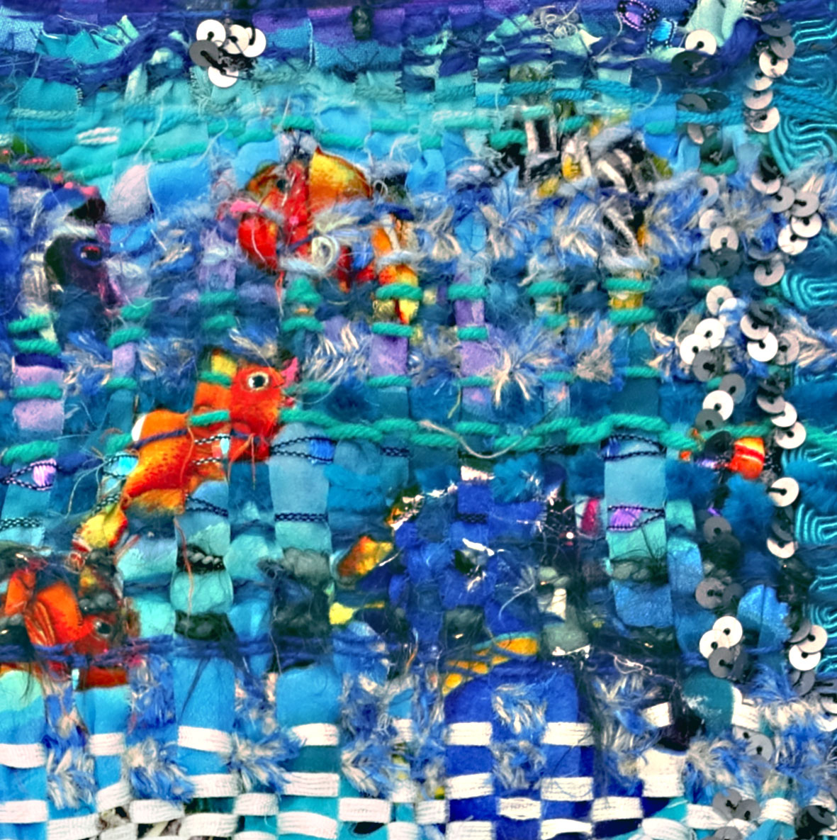 Eva Lippert, Aquarium, detail, weefstuk.