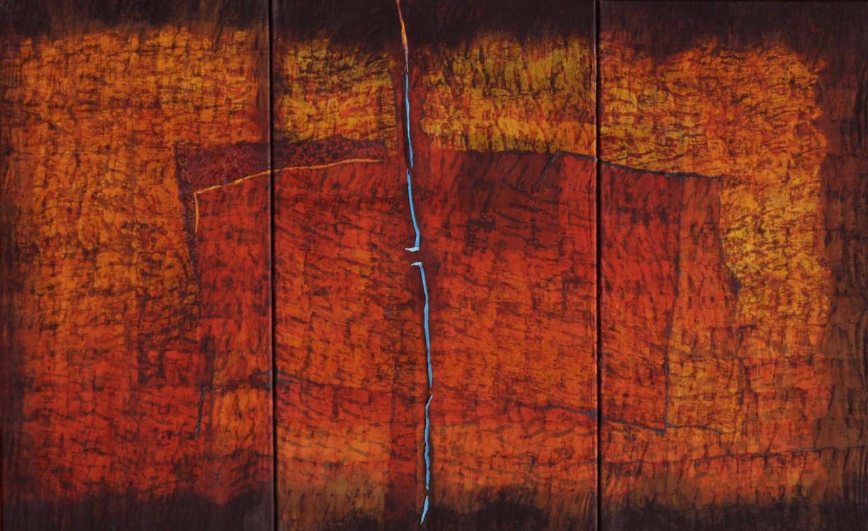 Joachim Blank, red roof, 2009, batik op katoen en organzazijde.