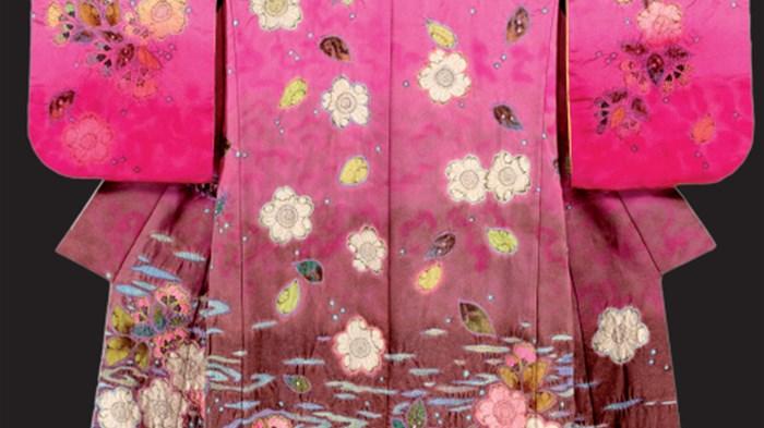 Detail van een kimono van Itchiku Kubota.