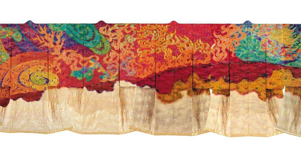Op deze foto is goed te zien hoe een afbeelding over diverse kimono's is afgebeeld.