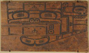 Een patroonbord op een cederhouten paneel (Portland Museum, VS)