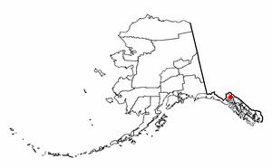 Locatie van Haines in Alaska.