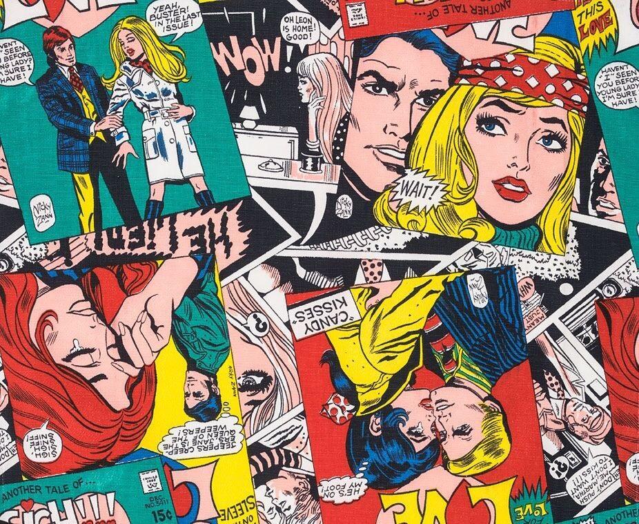 'Love Comic' gordijnstof, ontwerper Nicky Zann, 1970 - foto Target Gallery.
