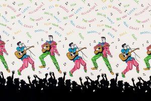 Elvis Presley, randpatroon voor een rok, Rock n' Roll skirts, VS - foto Target Gallery.