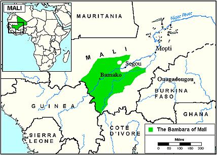 Leefgebied van de Bambara in Mali.