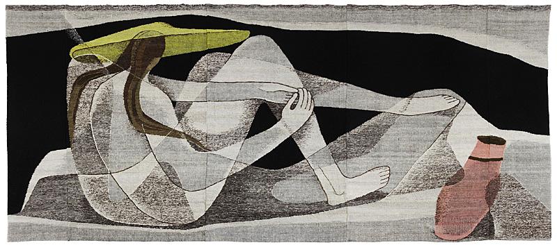 Frau vor Landschaft (1954, foto Textil Forum).