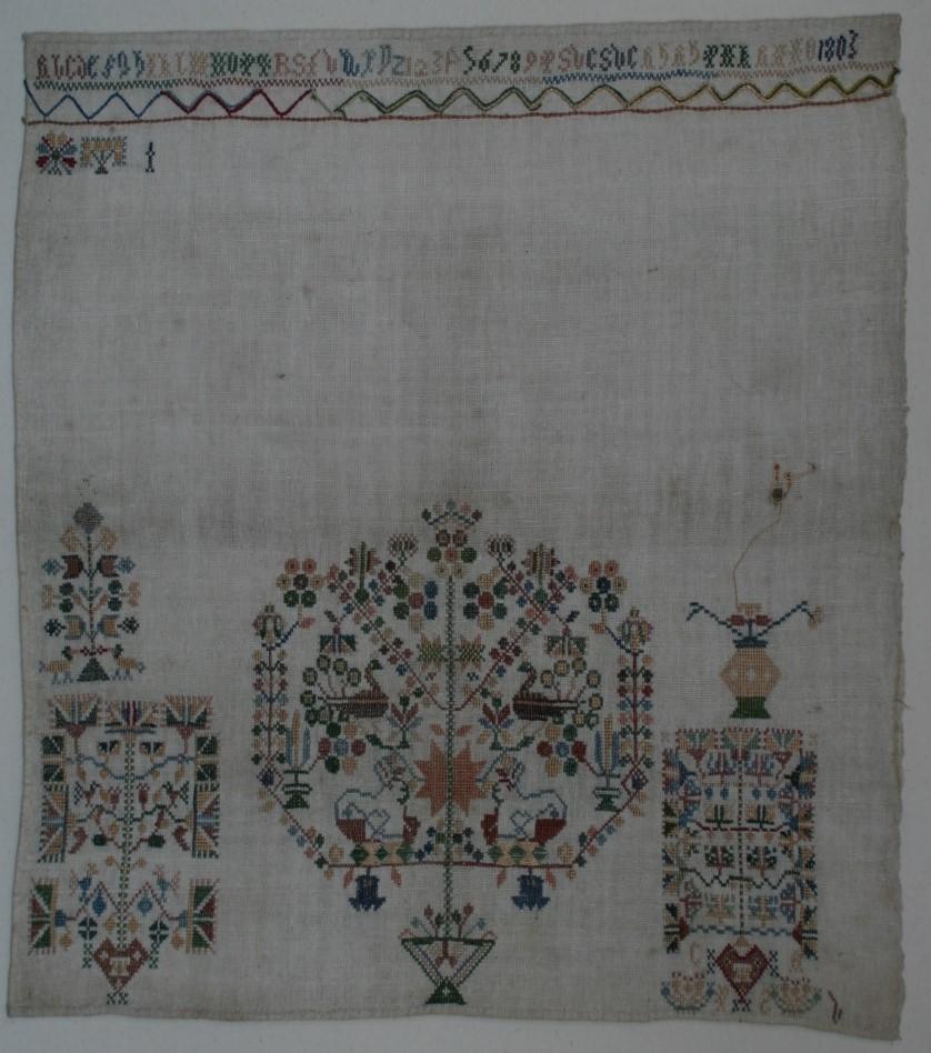 Een onvoltooide merklap uit 1803.