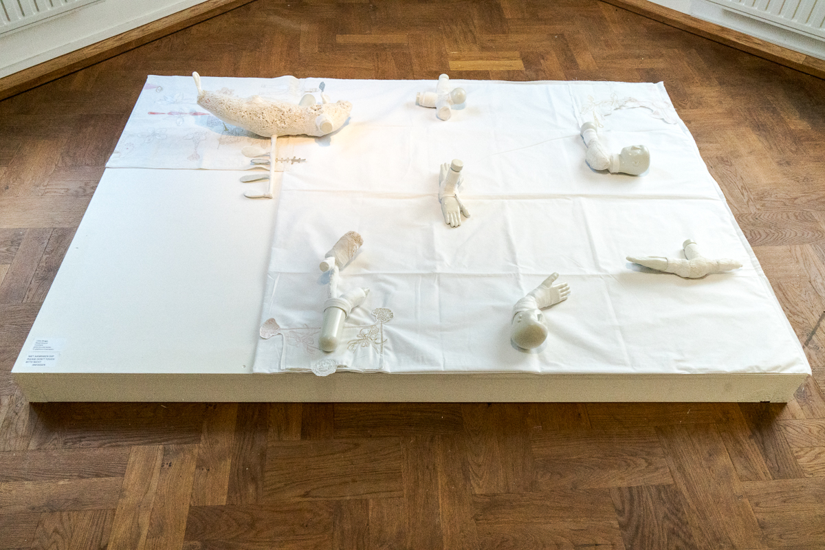 Célio Braga: Ritual Ground, geborduurd textiel en geglazuurd porselein - foto Theo Steemers.