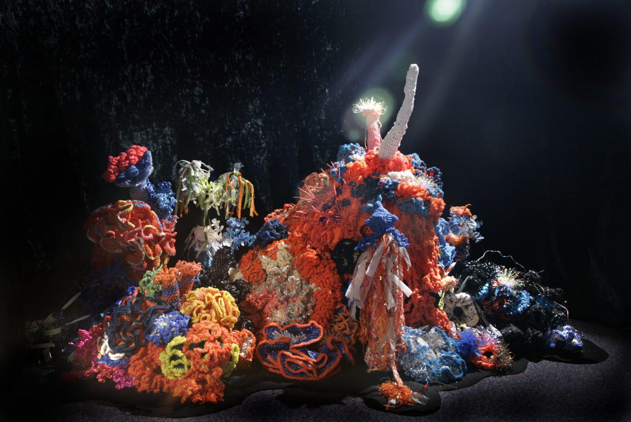 Het Vergiftigde Rif, een weergave van vervuiling van het rif door middel van haakwerk en plastic afval.