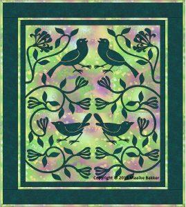 Quilt van Maaike Bakker, gebaseerd op het ontwerp 'De Aardbijendiefjes' van William Morris.