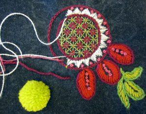 Yllebroderi, een Zweedse borduurtechniek met wol.