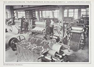 Interieur scheerderij en perserij N.V. Eindhovensche Trijpfabrieken Schellens & Marto, Eindhoven, 1947.