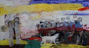Alice Kettle, Loukanikos, the Dog and the Cat's Cradle, 2015, garen, stof, glas, koperdraad, verf en veren op canvas - foto Joe Low.
