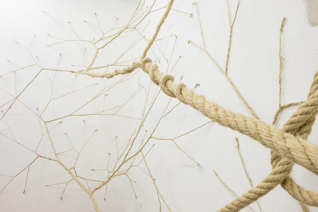 Janaina Mello Landini, detail Ciclotrama 28 (Medusa), 2015, henneptouw en spijkers - foto Stefano Oliverio.