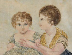 Detail van het borduurwerk uit circa 1800 in chenillegaren.