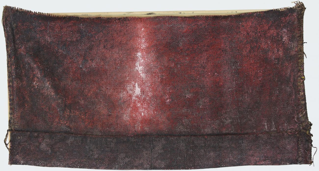 Compositie op Grove Jute 37-1, acryl op jute, 81 x 43 cm.