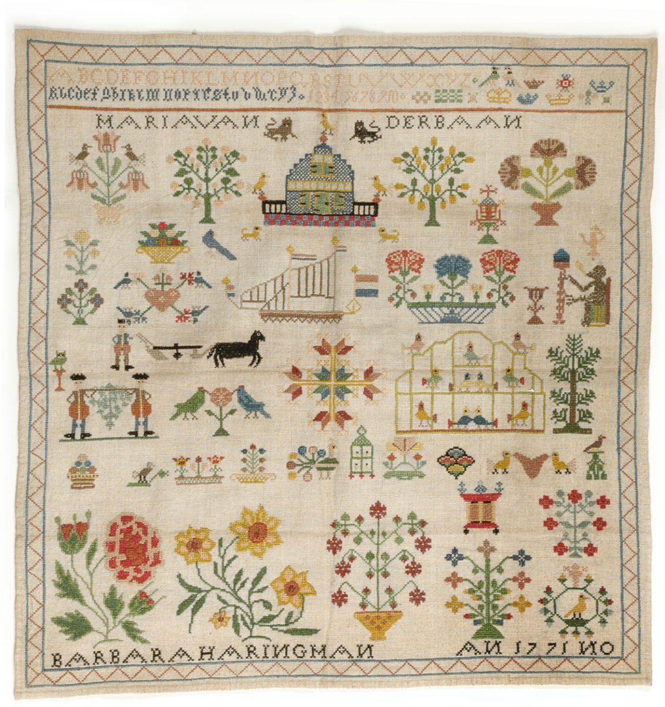 Merklap uit 1771 door Barbara Haringman uit Middelburg, particulier bezit.