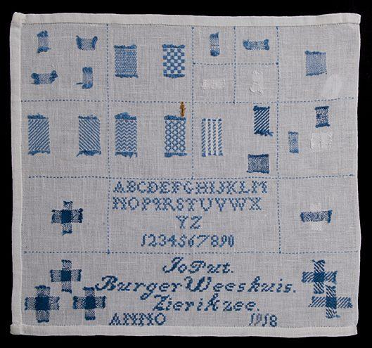 Stoplap uit 1918, door Jo Put in het Burger Weeshuis te Zierikzee gemaakt, bruikleen Stadhuismuseum Zierikzee.