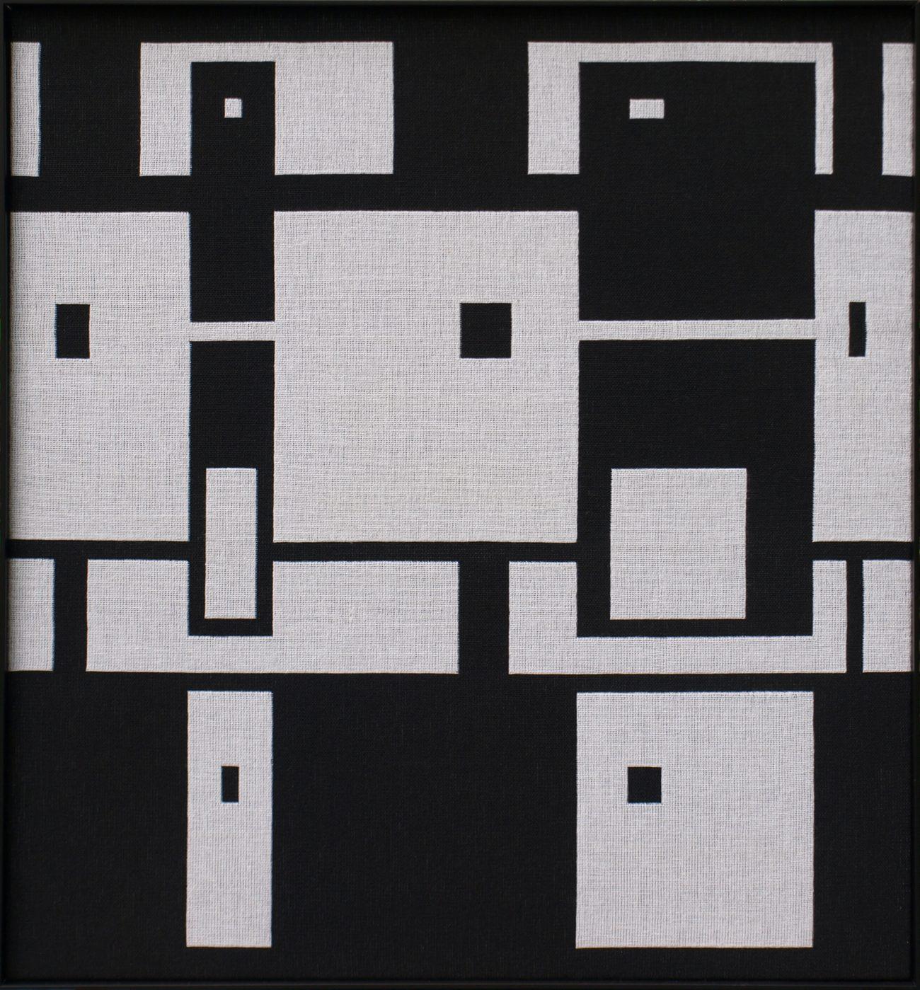 Marina L. van Dobben de Bruyn, 'Zwart/wit 1', dubbelweefsel.