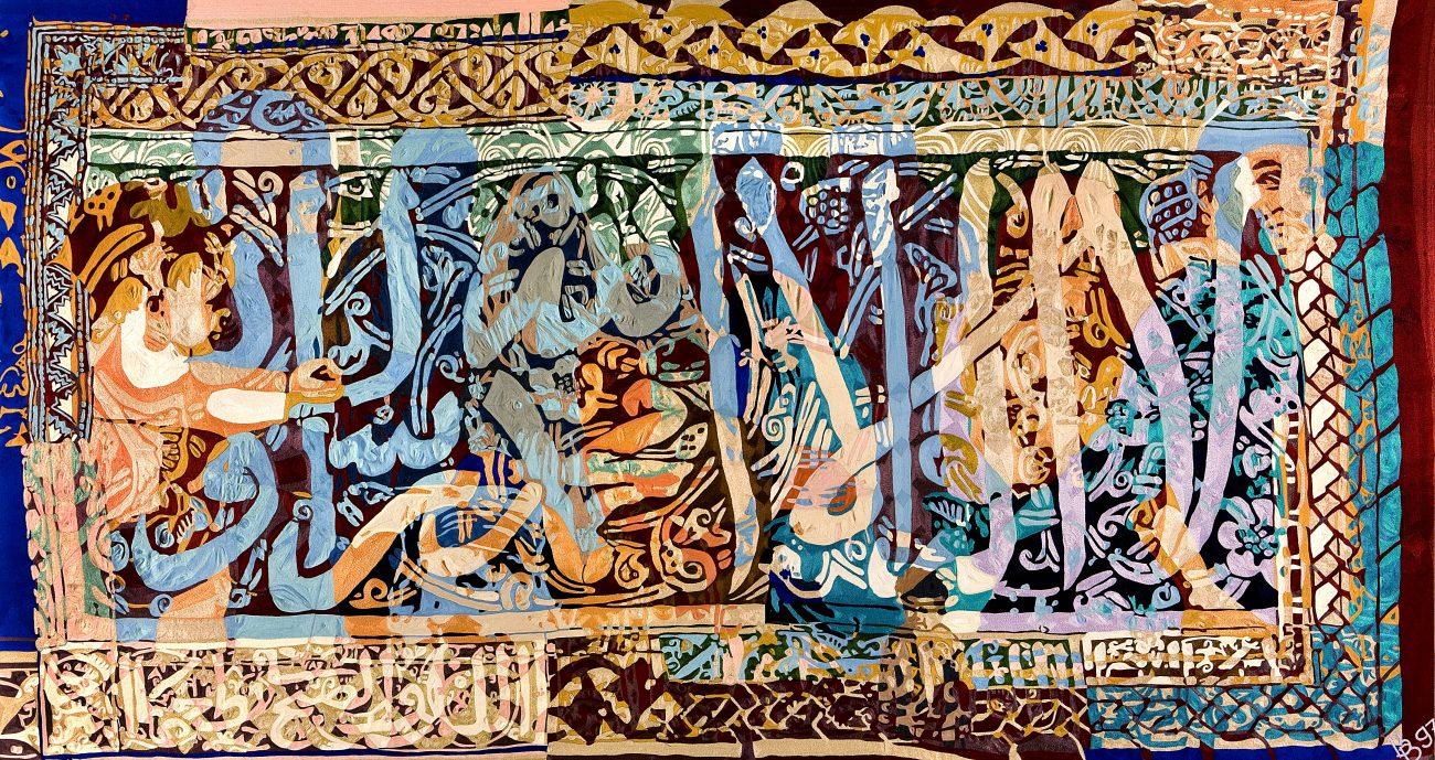 Barbara Broekman - Arabisch, handgeborduurd, 240 x 450 cm.