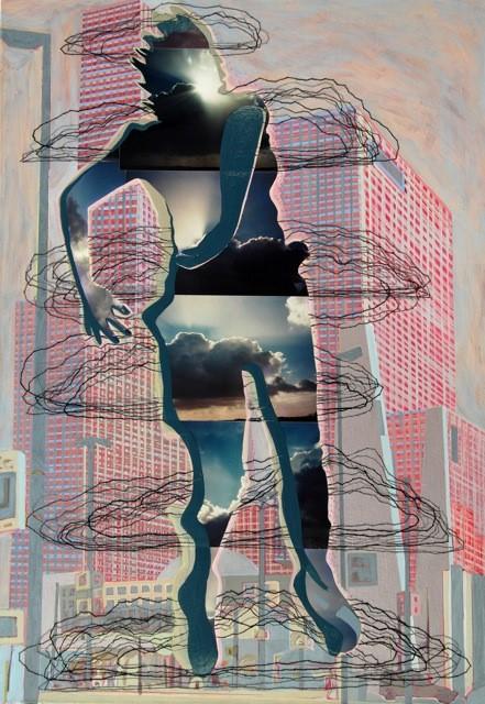 Malou Busser - Wolkensprong, acrylverf, borduurzijde op doek, 80 x 115 cm.