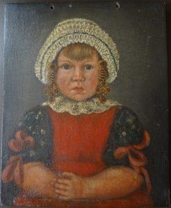 Meisje in Noord-Bevelandse dracht door Marinus Zwigtman, circa 1845.