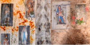 Detail uit de 'Heiligenmuur', foto's met gelmedium overgebracht op stof, roesten en ecoprinten.