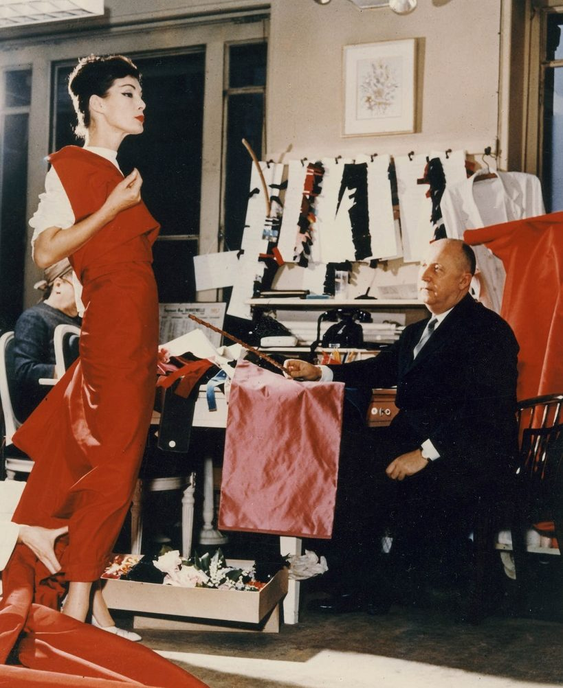 Christian Dior met model Lucky, circa 1955.