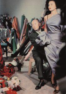 Christian Dior met model Sylvie, circa 1948.