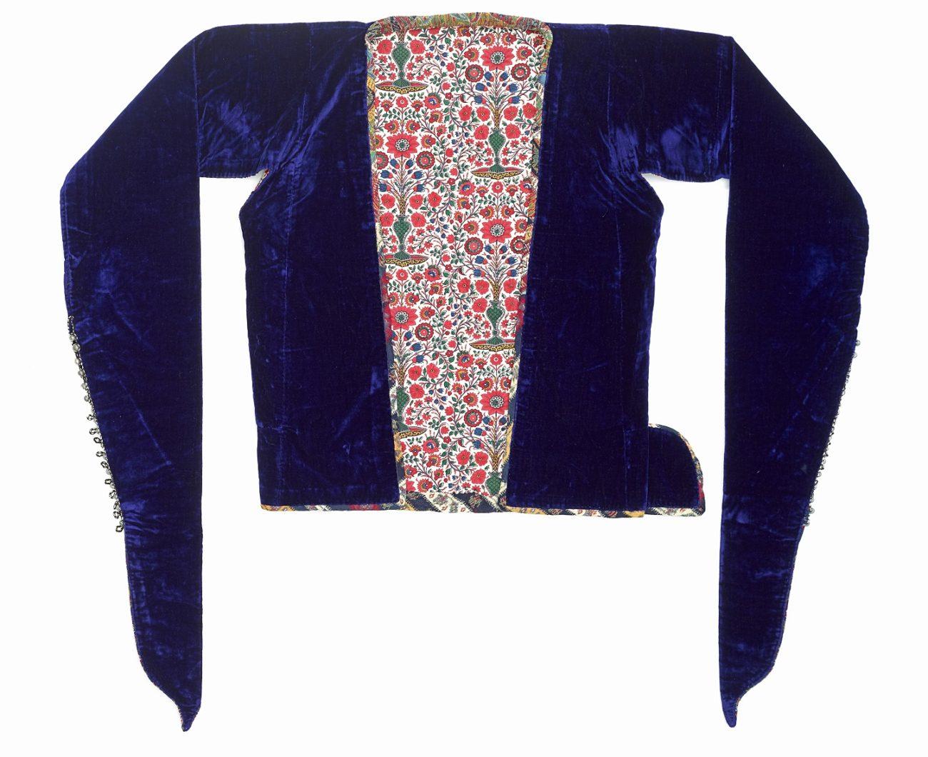 Damesjasje, Iran, zijden fluweel, wollen stof (termeh), katoen, 1875-1895.